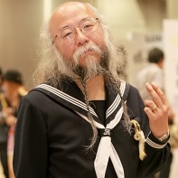 An old Japanese guy dressed in a dark-blue sailor suit who just walked around on the Design Festa event, getting lots of attention and loving every minute of it.
