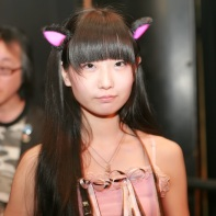 A stylish Japanese girl with glow-in-the-dark cat's ears I photographed in the break between the performances.
