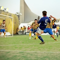 The Japanese players takes a shot at the Brazilian goal at the Adidas Sala Festa 2010...