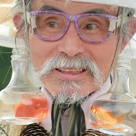 Close-up of the Harajuku Ojisan cosplayer and his goldfish earrings.