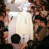 An off-white writtenafterwards pullover from the fashion show at Tabloid in Tokyo.