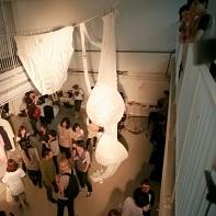"An installation with ""The Big Bra"" (and oversized panties) from Yoshikazu Yamagata."