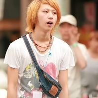 Mouthbreathing Japanese guy with blonde hair.
