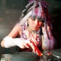 Japanese DJ Mikan in the DJ booth at Club Crawl.