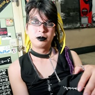 Japanese goth guy Itsuki relaxing between the performances.