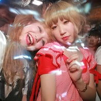 Two girls having fun at the Kawaii Tokyo party.