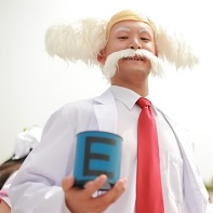 A cosplayer dressed up as Doctor Wily from the Mega Man (a.k.a. Rockman) video game series.