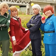 A group of cosplayers dressed up as Switzerland, Liechtenstein, Prussia and North Italy from the Hetalia: Axis Powers (ヘタリア Axis Powers) manga.