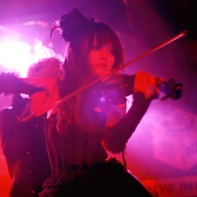 Violinist Jill of the dark wave duo Rose Noire playing at Live Inn Rosa.