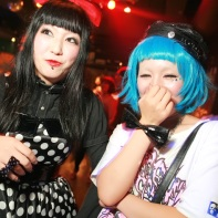 Two Japanese goth girls having fun at the Artism Festa 2010.