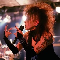 Ageha of the Japanese dark electro band Zwecklos singing.