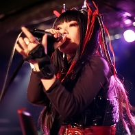 Singer Nekoi Psydoll in red/black cyber fashion