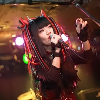Singer Nekoi of Psydoll singing at the Gothic Bar Heaven 28 party.