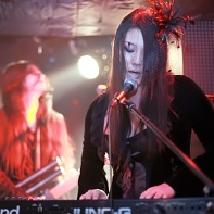 Keyboard player and background vocalist Morgan le-Fay of Ethereal Sin.