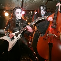 Guitar player Sariel Evileye and bassist Vlad Demogorgon of Ethereal Sin on stage.