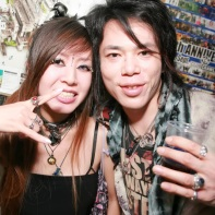 Dancer MiN with her boyfriend at the Gothic Bar Heaven 28 event.