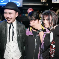 Three Japanese goth guys having fun at Club Crawl.
