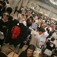 One of several huge halls where tens of thousands of manga illustrators and related artists offer their merchandise.