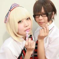 Two female cosplayers dressed up as Shiemi Moriyama and Yukio Okumura from the Blue Exorcist (青の祓魔師(エクソシスト) manga.