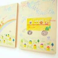 The style of the presented artworks was very different, here the ''Happy Adventure'' crayon triptych.