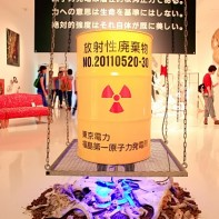 A Fukushima-inspired installation with a radioactive waste container at Chiyoda Arts.