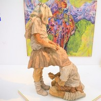 Another thought-provoking sculpture of two schoolgirls.