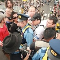 Another tense situation at the 'Stop Nuclear Power!' demo in Shinjuku.