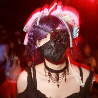 Dressed-up goth DJ Mikan on the dancefloor.