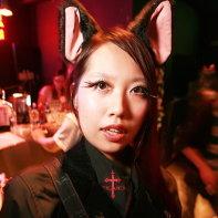 Cat-eared goth girl Fumika in Japanese club.