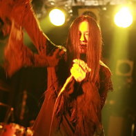 Vocalist Ryo☆キラリーン of Japanese goth band PeaceToPieces during their gig.