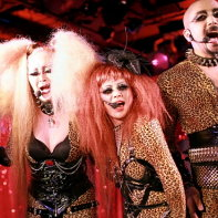 Death Trance Delilah's Dark666, Angelix, Maiya and Jesus during their act at the Club Theatic Show event.
