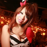 A Japanese girl going for the ero-kawaii look at the Trump Room.