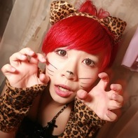 A cute Japanese girl with red hair in a cat costume.