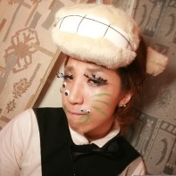 A Japanese guy with a cow's hat and funny make-up at the Trumo Room in Shibuya.