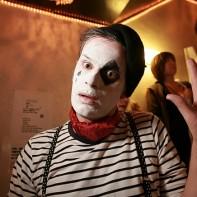 Western guy as Marcel Marceau's mime Bip the clown.