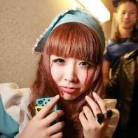 Japanese girl in a Halloween maid's outfit.