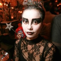A Japanese girl in a Black Swan costume.