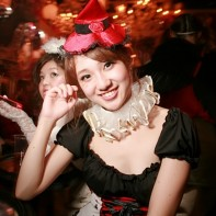 Japanese girl dressed in an appropriate Halloween costume.