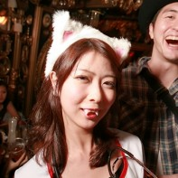Nurse outfit, cat's ears and vampire teeth -- this Japanese girl leaves nothing to chance for Halloween.